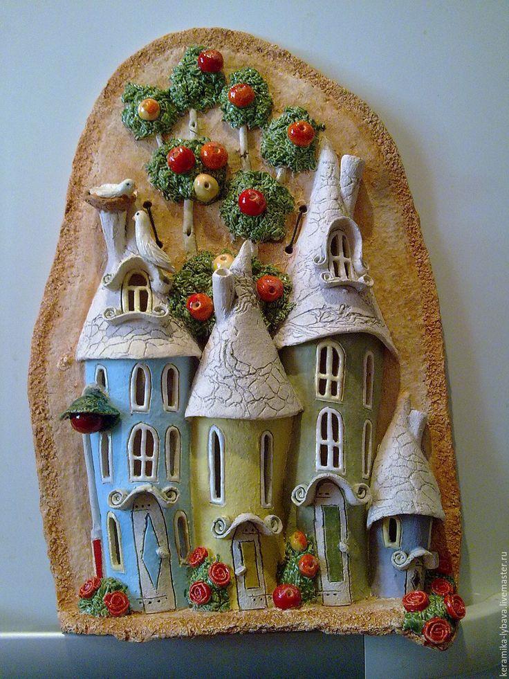 """Купить Панно""""Ах,лето """" - бежевый, панно на стену, домики, Керамика, сувениры и подарки"""