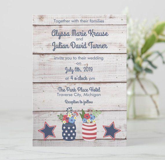 Fourth of July Wedding Invitation Patriotic Love Printed