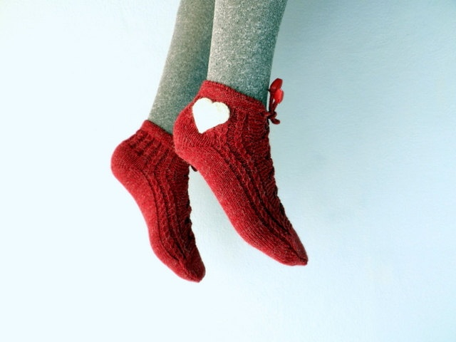 Red Slipper Socks Lacing Slippers for WomenRed by fizzaccessory, $16.00