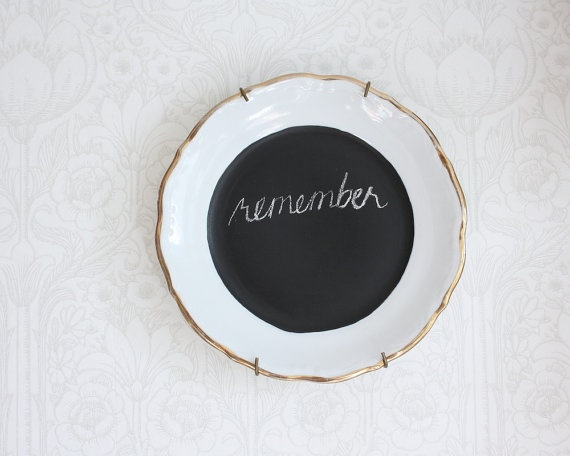 chalkboard sign upcycled vintage porcelain plate by Tuuni on Etsy, €19.50