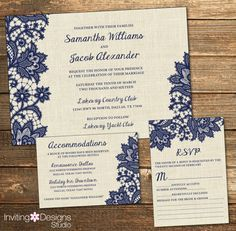 Rustic Wedding Invitation, Burlap Lace, Navy Blue, Country, RSVP Card, Accommodations Card, Wedding Suite (PRINTABLE FILE)