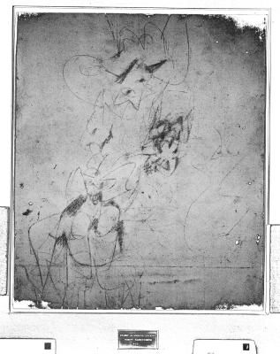 Digitally enhanced infrared scan of Robert Rauschenberg's 'Erased de Kooning Drawing' (1953) showing traces of the original drawing by Willem de Kooning. Visible light scan: Ben Blackwell, 2010; Infrared scan and processing: Robin D. Myers, 2010