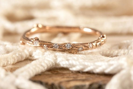 Twig ring with scattered diamonds in 14kt by EmilyChelseaJewelry