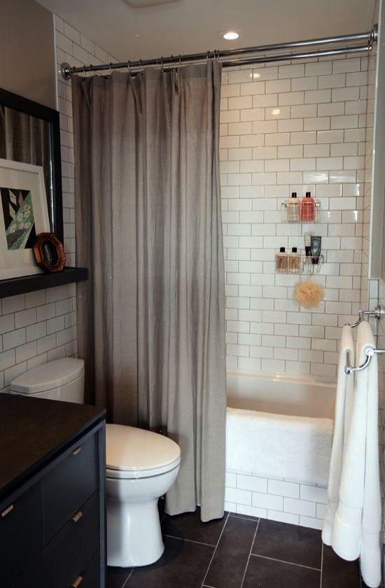 Lovely Small Bathroom Dark Tile Floor Subway Tile Shower Small