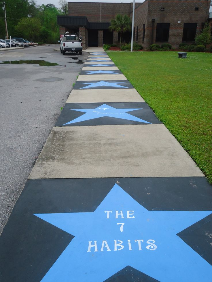 7-Habits sidewalk leading to St. Stephen Elementary