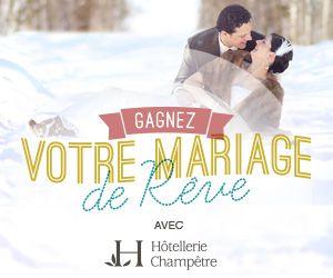 Gagnez votre mariage de rêve avec Hôtellerie Champêtre ! Un prix de plus de 11500$ ! Participez : http://bit.ly/MariageDeReve Bonne chance !
