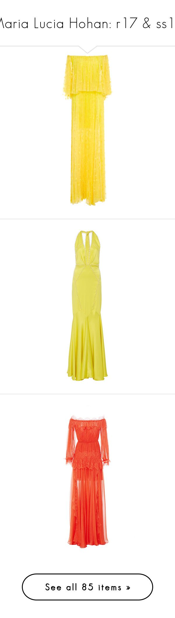 """""""Maria Lucia Hohan: r17 & ss17"""" by livnd ❤ liked on Polyvore featuring marialuciahohan, resort2017, dresses, gowns, maxi dress, long dress, yellow, long yellow dress, tulle gown and strapless maxi dress"""