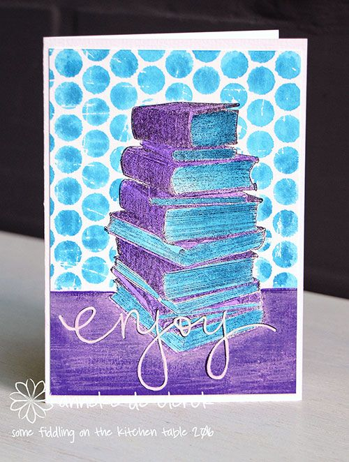 Card by Anneke De Clerck using Darkroom Door Book Stack Photo Stamp, Polka Dots Background and Whimsical Words Rubber Stamp Set.