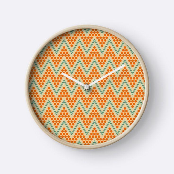 Geometric chevron pattern by Luna Princino. Visit RedBubble for more prints. #lunaprincino #home #decor #design # interior #print #prints #pretty #beautiful #beige #turquoise #teal #orange #redbubble #gift #idea #clock #clocks #pattern #chevron #zigzag #geometric #geometry #lines #dots #trendy #ornament #ornate
