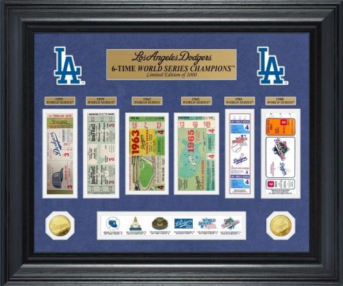 Los Angeles Dodgers World Series Ticket and Game Coin Collection Framed Collage