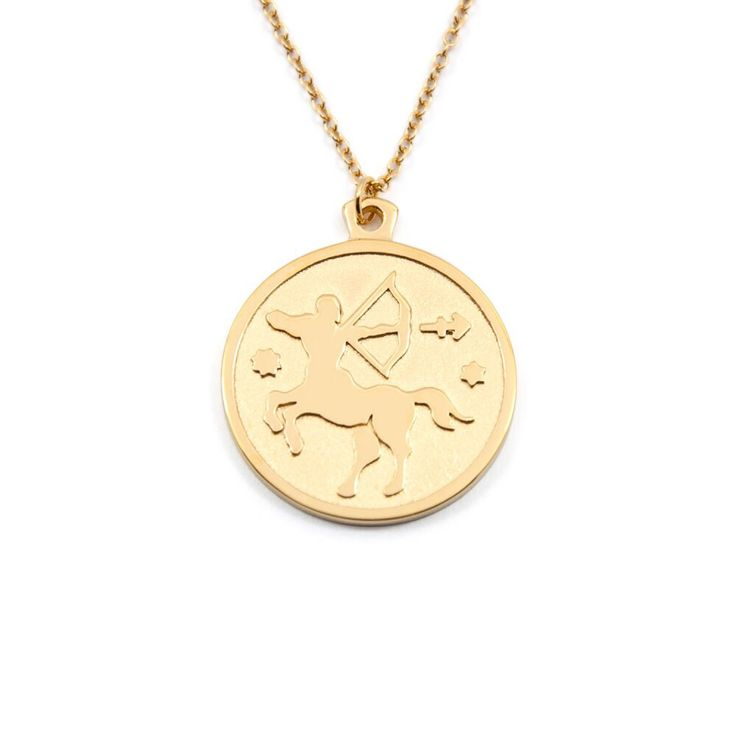 Anna Saccone's Zodiac Jewellery Collection | Stilnest - SAGITTARIUS - ZODIAC SIGN High Gloss & Sandblasted 925 Silver Gold Plated Necklace $94