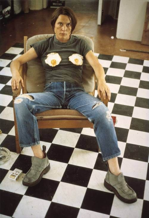 """Sarah Lucas, """"Self Portrait with Fried Eggs"""", 1996. Digital print on paper. Courtesy of the artist and Tate, London."""
