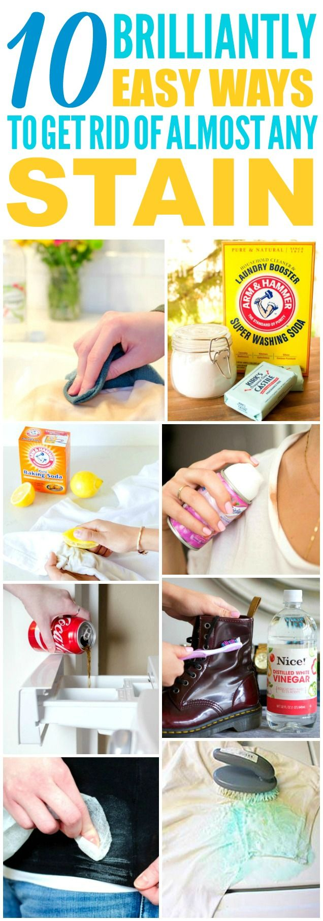 These 10 easy laundry hacks are THE BEST! I'm so glad I found these AMAZING tips! Now I have some great ways to get rid of stains! Definitely pinning!