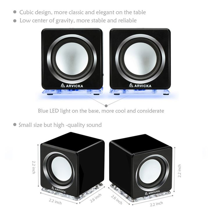 Arvicka Expansive Audio Usb Speaker Blue Led Wired 2 0 Channel Computer For Pc