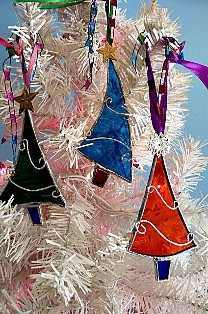 Assorted Stained Glass Christmas Trees Set of Three by Miloglass, $23