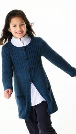 Strikkeopskrift | Strik sød pigejakke i midnatsblå | Fin pigestrik | Strik til børn med søde motiver og detaljer | Lun og blød børnestrik