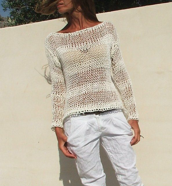 single yarn and double yarn white sweater / White cotton mix loose knit / summer by ileaiye