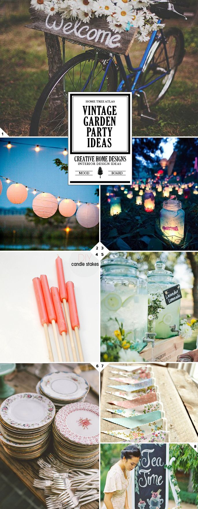 My ideas for vintage 40th birthday party & Macmillan summer lights fundraising - Host A Beautiful Vintage Garden Party: A Mood Board of Ideas for Decorations