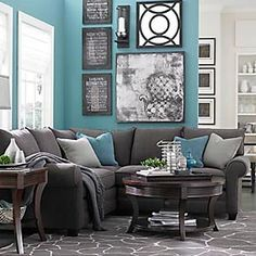 grey living room with blue accents - Google Search