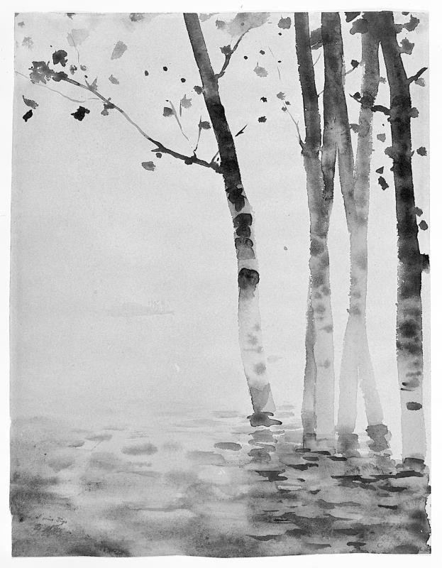 Giuseppe De Nittis (Italian, 1846-1884) Poplars in water  1878 india ink and watercolor on yellowed white board
