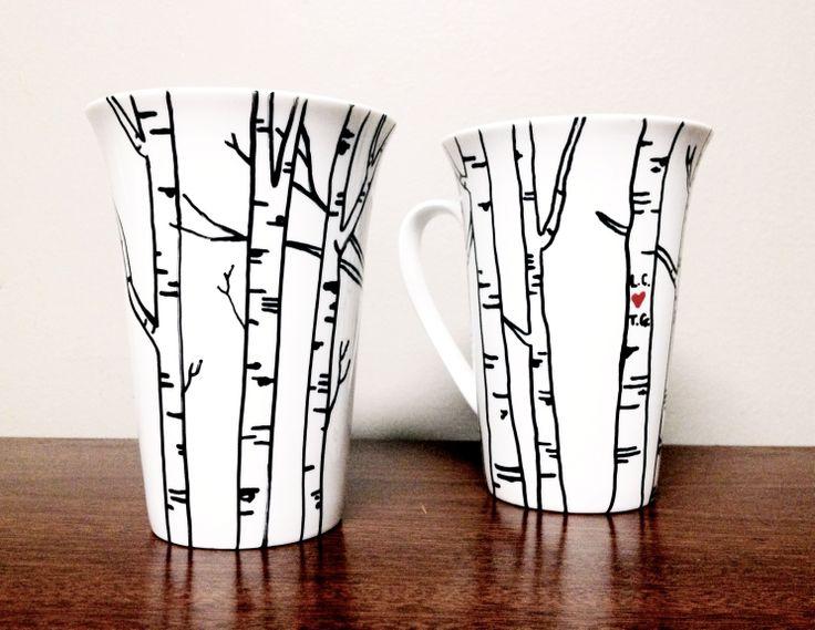 DIY mug w/sharpie paint pen. Use pattern idea for edges of white plates.