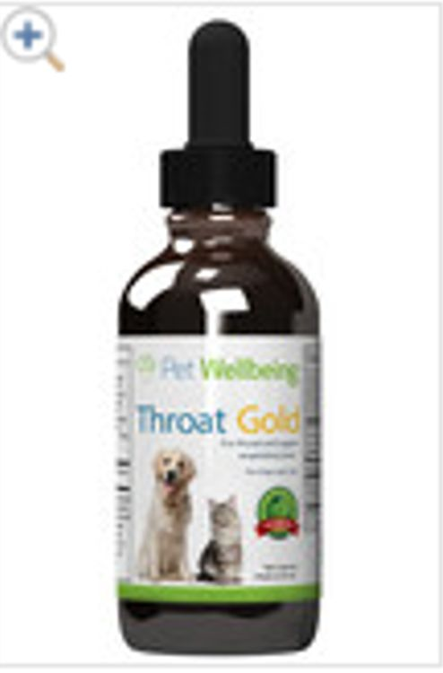 Throat Gold - Cough & Throat Soother for dogs: Natural throat and respiratory support for dogs A gentle, natural supplement to support: Throat comfort for persistent coughs Normal immune response to infections Trachea and larynx (voice box) Lung health (upper respiratory). 5 drops a day- bottle lasts 118 days.