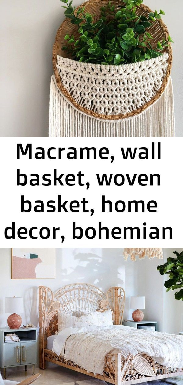 Basket Bohemian Decor Home Macrame Wall Woven Macrame Wall