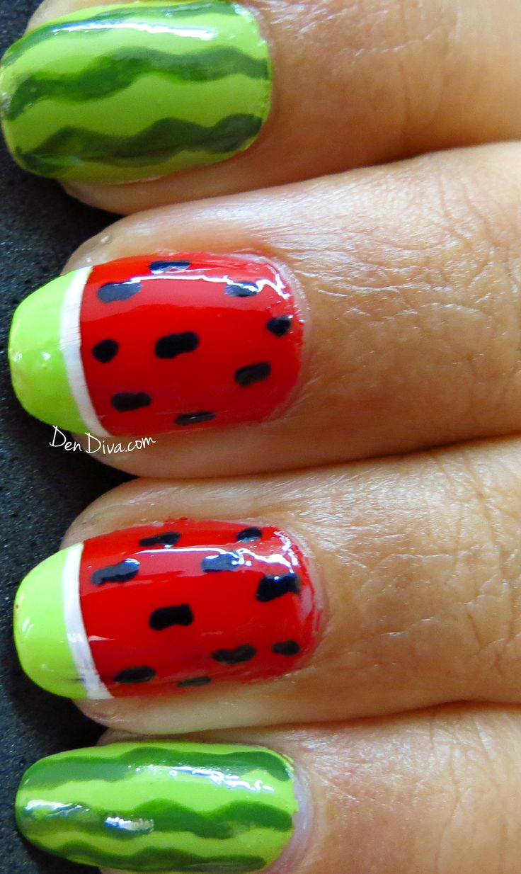 About baby boomer nail art tutorial by nded on pinterest nail art - Watermelon Nail Art Tutorial Step By Step With Pics