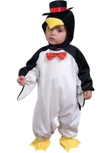 Baby Pinguin pak: Dit zwart en witpinguin pak voor baby's bestaat uit een muts en schoentjes met een leuk strikje om de hals. Het kostuum sluit aan de achterkant met een rits en met knopjes tussen de...