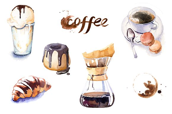 Watercolor coffe time clipart set by masha gross on Creative Market