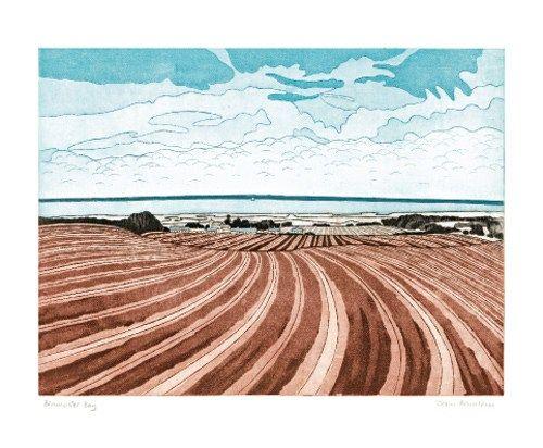 my favorite view, Brancaster Bay, etching, John Brunsdon