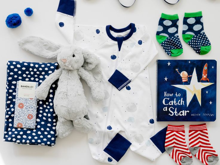 New Baby Boy Gift Hamper | Into Orbit | This Modern collection of treasures uses Sapling Child jet stream orbit zip suit as the centrepiece | Young Willow