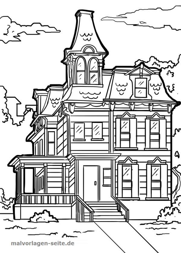 Malvorlage Haus viktorianisch Gebäude - Kostenlose