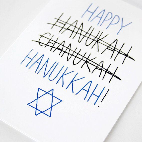 Hannukah Card. Happy Hanukkah Card. Blue and Black on White. Blank Folded Card via Etsy.