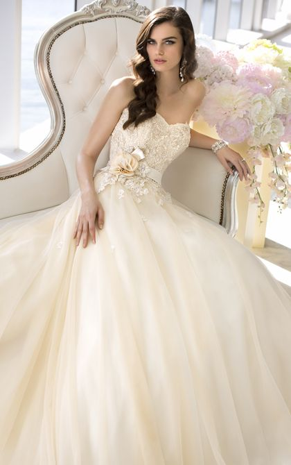 Vintage inspired strapless designer ball gown wedding dress from Essense of Australia (Style D1472)