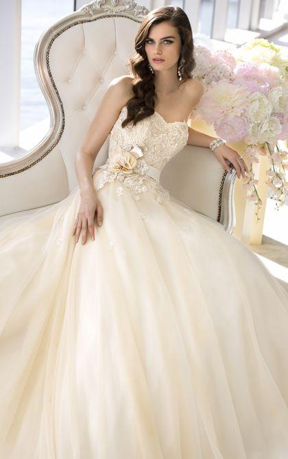 Vintage inspired strapless designer ball gown wedding dress from Essense of Australia (Style D1472)