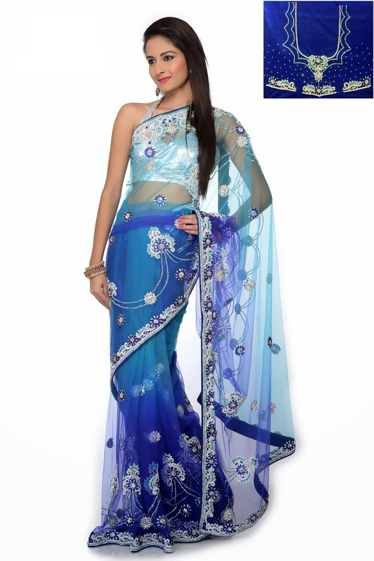Blue color bridal saree – Panache Haute Couture