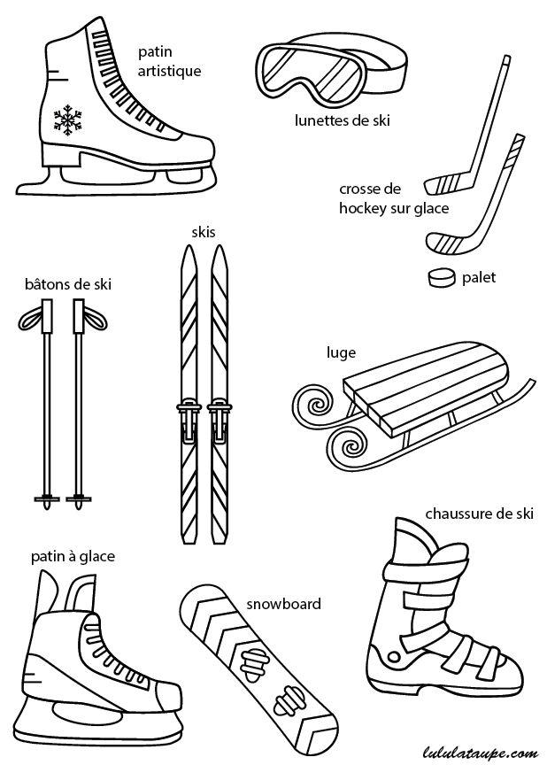 Imagier gratuit à imprimer ; les activités en hiver ; luge, snowboard, ski, hockey sur glace