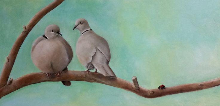 Doves with ladybug