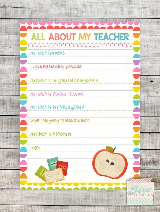INSTANT DOWNLOAD Printable Teacher appreciation gift All About My Teacher Questionnaire by LuxePartySupply on Etsy https://www.etsy.com/listing/235058022/instant-download-printable-teacher