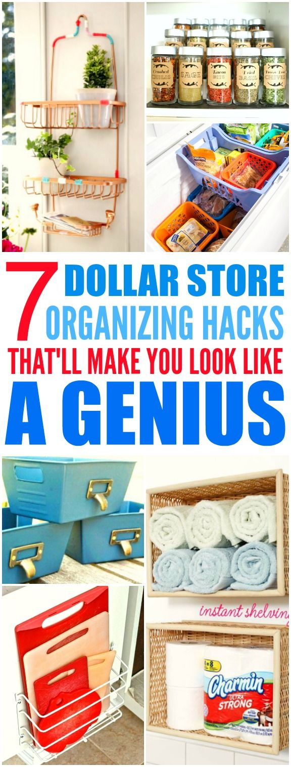 These 7 Dollar Store hacks from the experts are THE BEST! I'm so glad I found these AWESOME tips! Now my home will looks so less cluttered! I'm SO pinning for later!