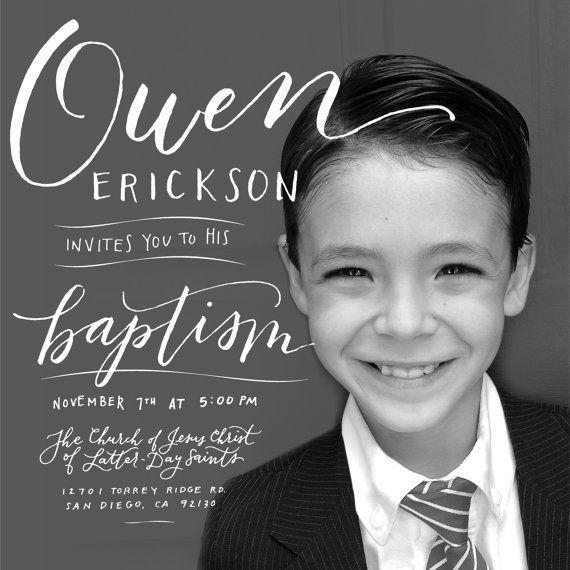 Custom Handlettered Baptism Invitation, calligraphy, typography, lds baptism, photo digital invitation, boy baptism, girl baptism