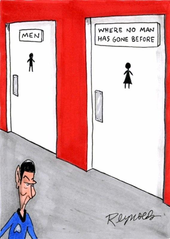 Not 100% true considering plenty of transgender men have used the women's bathroom but the comic is still mildly funny