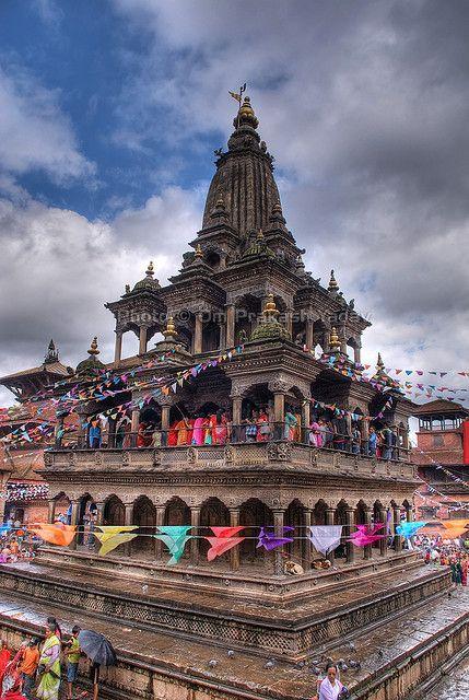 Krishna Mandir ( Shikhara Style ), Mangal Bazaar, Patan Durbar Square,  Kathmandu Valley