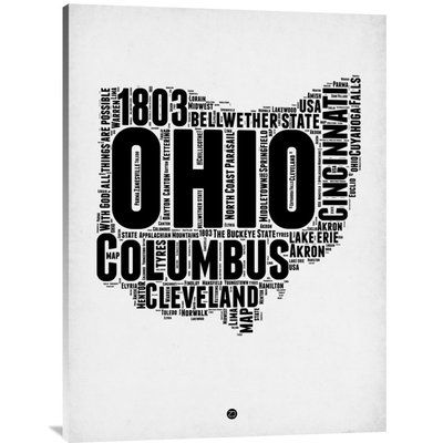 "Naxart 'Ohio Word Cloud 2' Textual Art on Wrapped Canvas Size: 40"" H x 30"" W x 1.5"" D"
