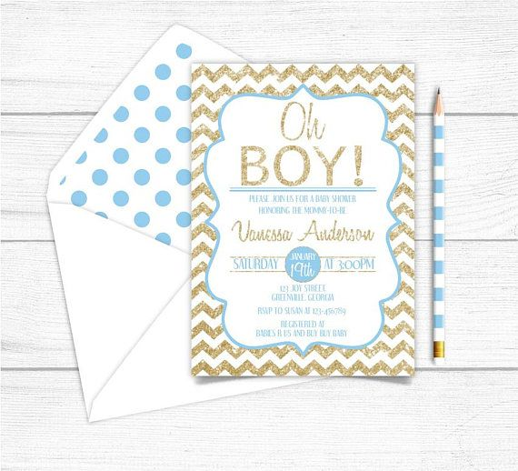 Printable Gold Blue Boys Baby Shower InvitationGold Sparkle
