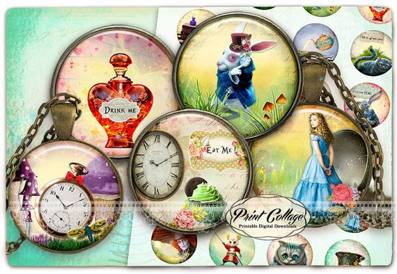 Alice in Wonderland Cabochon images Digital by PrintCollage