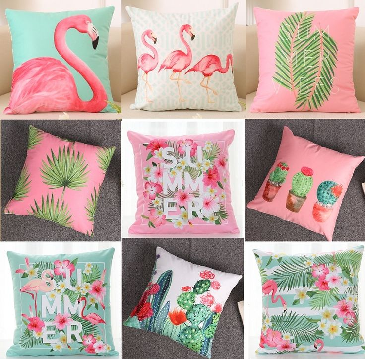 Aliexpress.com: Comprar Flor de verano de Aves Cojín 40X40 cm Hoja De Palma Cactus Flamingo Suave Fundas de Almohada Fundas de Almohada del Sofá del Dormitorio decoración de cushion cover fiable proveedores en Queen World ----Belief