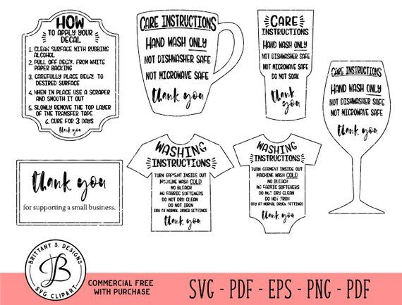 care card bundle  care instruction cards  decal and htv application instructions  care card svg