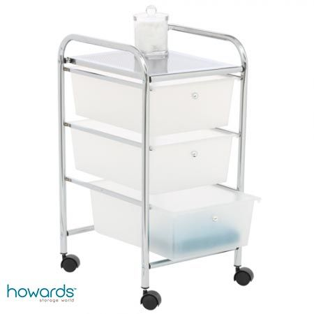3 Drawer Chrome Trolley, the 3 Drawer Chrome Trolley is perfect for the bathroom or bedroom. Ideal for storing your cosmetics, hair accessories or bath toys. This trolley has wheels so you can move it with ease. Chrome frame with frosted drawers. Mounted on castors. W33cm x D39cm x H66cm. Available from Howards Storage World.
